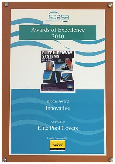 Elite Pool Covers' 2010 Award of Excellence from SPASA