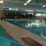 Large swimming pool and people walking around it