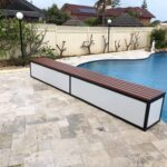 bench seat system for backyard pool